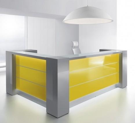 bureau d accueil lumineux en angle mod le valde avec armoires de ra. Black Bedroom Furniture Sets. Home Design Ideas