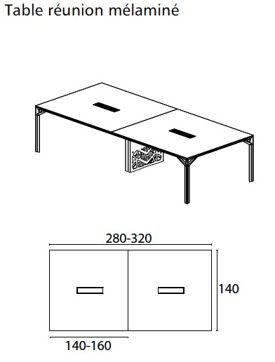 Grande Table De R Union X8 Avec Plateau En Verre Officity Tables D