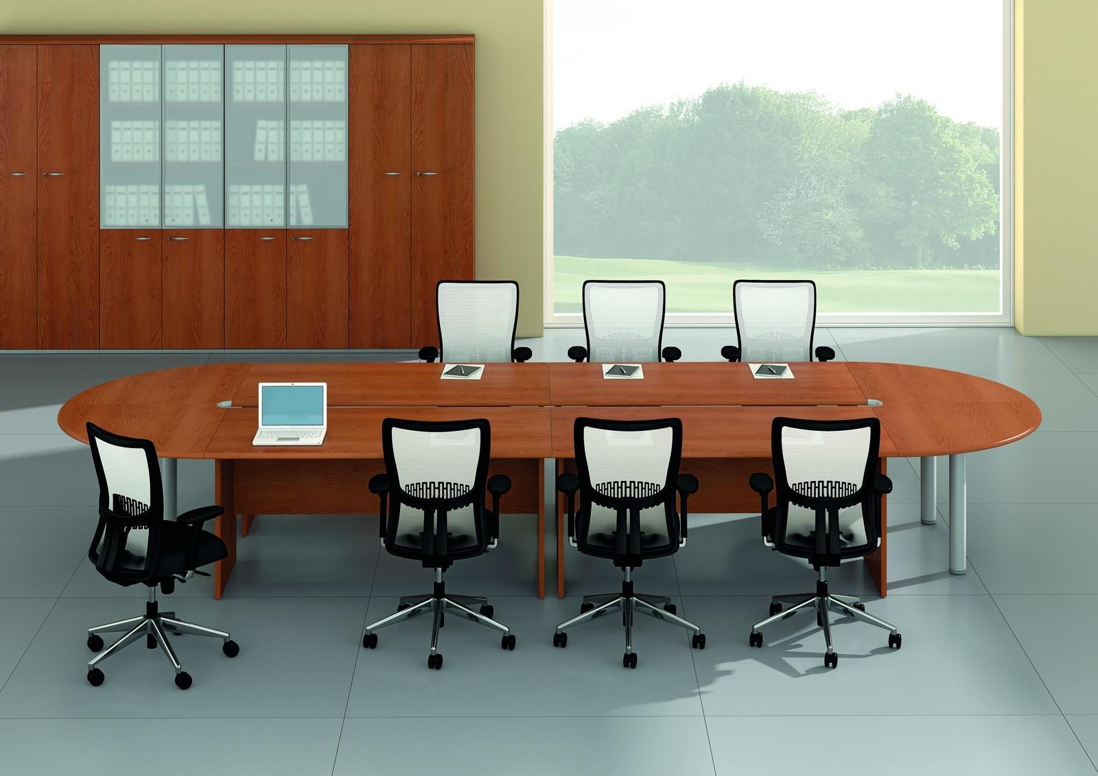 Grande table de réunion ovale série Mega avec piètements bois –  Quadrifoglio. e68433a53787