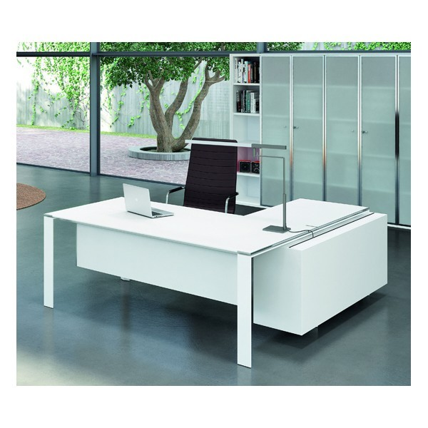 bureau x7 avec plateaux en verre blanc officity bureaux. Black Bedroom Furniture Sets. Home Design Ideas