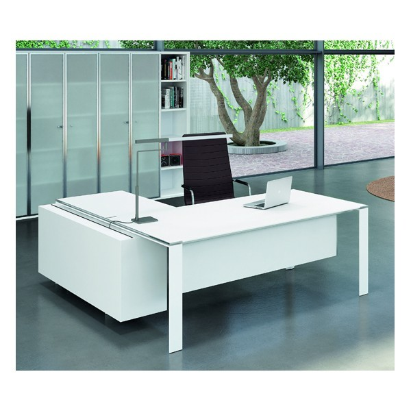bureau x7 avec plateaux en verre blanc officity bureaux de direc. Black Bedroom Furniture Sets. Home Design Ideas