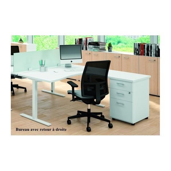 Bureau compact 90 avec caisson de rangement idea tube for Mobilier bureau quadrifoglio