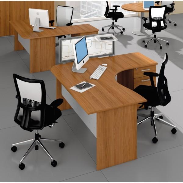 Bureau compact mixte avec caisson idea pano quadrifoglio for Mobilier bureau quadrifoglio