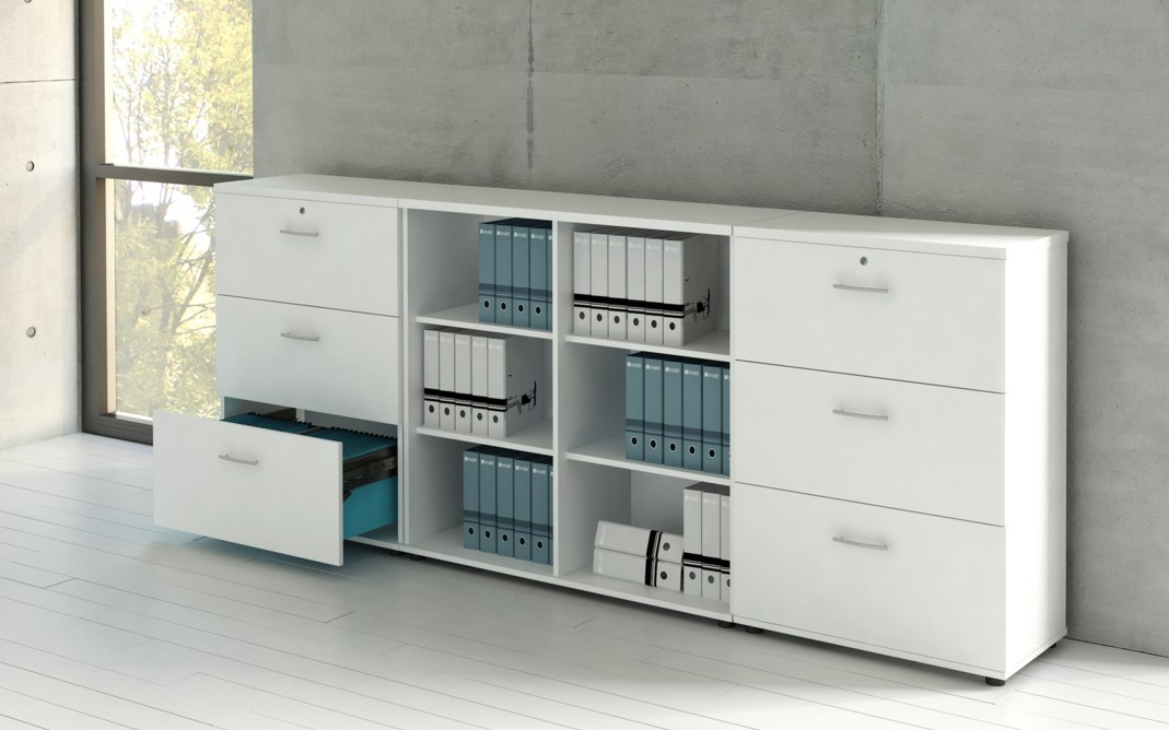 Armoire moyenne avec 3 tiroirs pour dossiers suspendus for Petite armoire avec tiroir