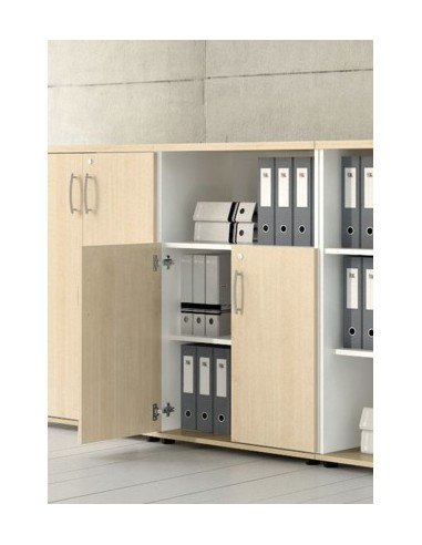 Armoire de bureau avec niche bibliothèque et portes battantes - MDD