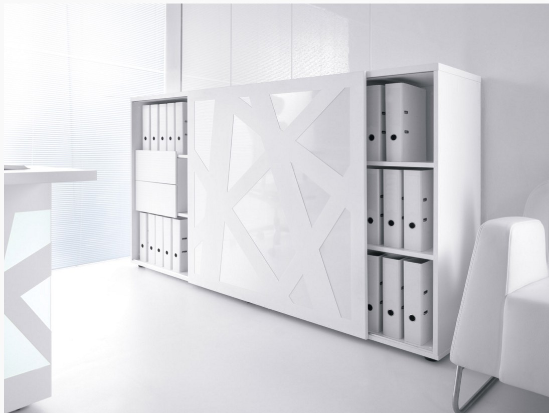armoire de bureau avec porte coulissante zig zag mdd armoires mdd. Black Bedroom Furniture Sets. Home Design Ideas