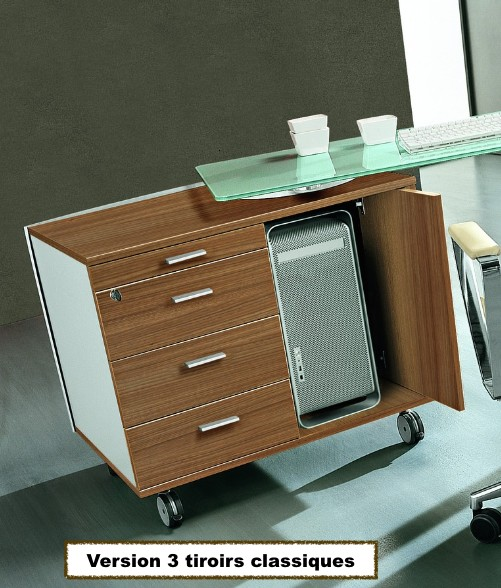 Bureau x time next avec retour en verre et meuble de for Meuble bureau et rangement