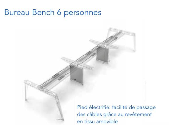 Bureau bench 6 personnes pigreco martex bureaux bench for Bureau 6 personnes
