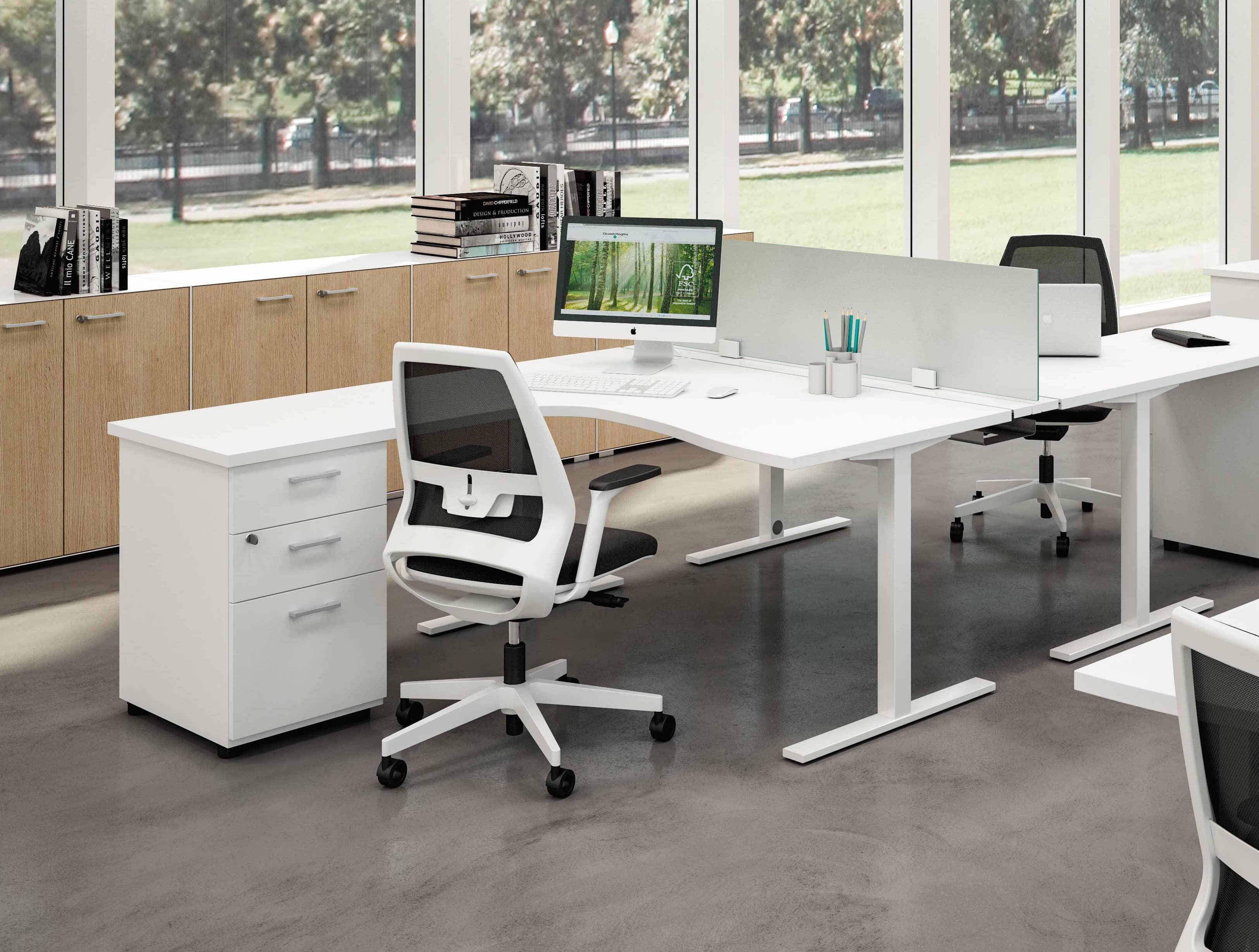 Bureau d angle ideatube avec retour caisson for Mobilier bureau quadrifoglio
