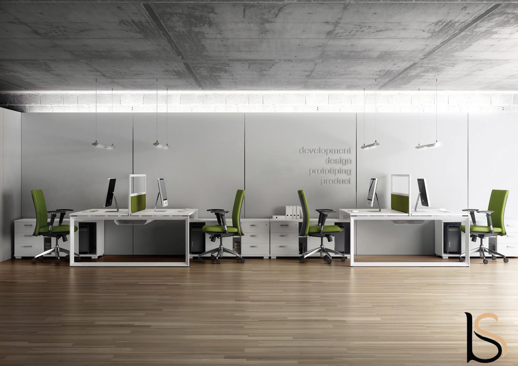 Bureau bench 2 personnes star avec meubles de rangement for Oficinas linea madrid