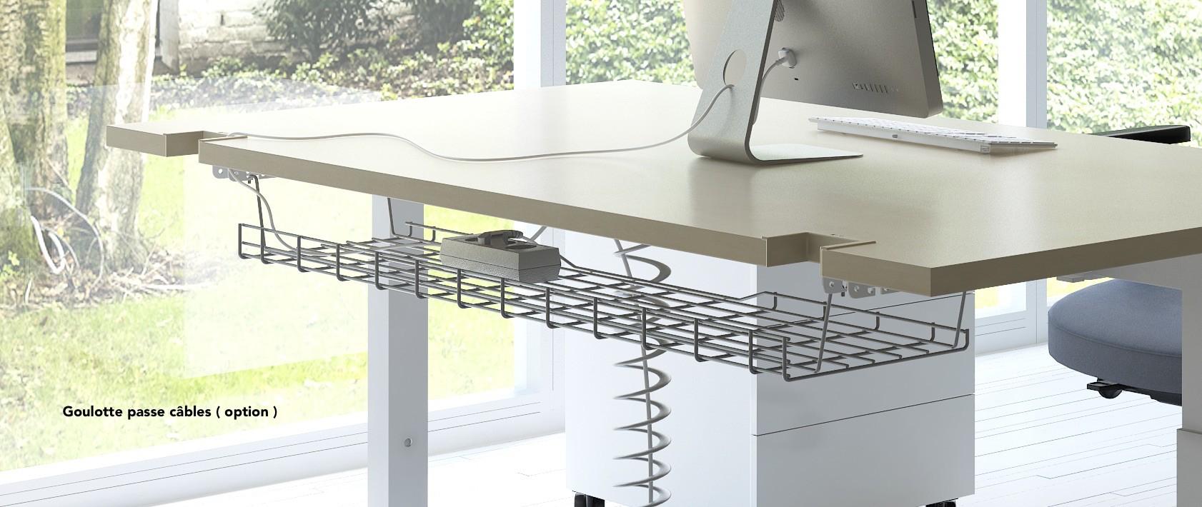 bureau individuel r glable en hauteur yan mdd bureaux r glables e. Black Bedroom Furniture Sets. Home Design Ideas