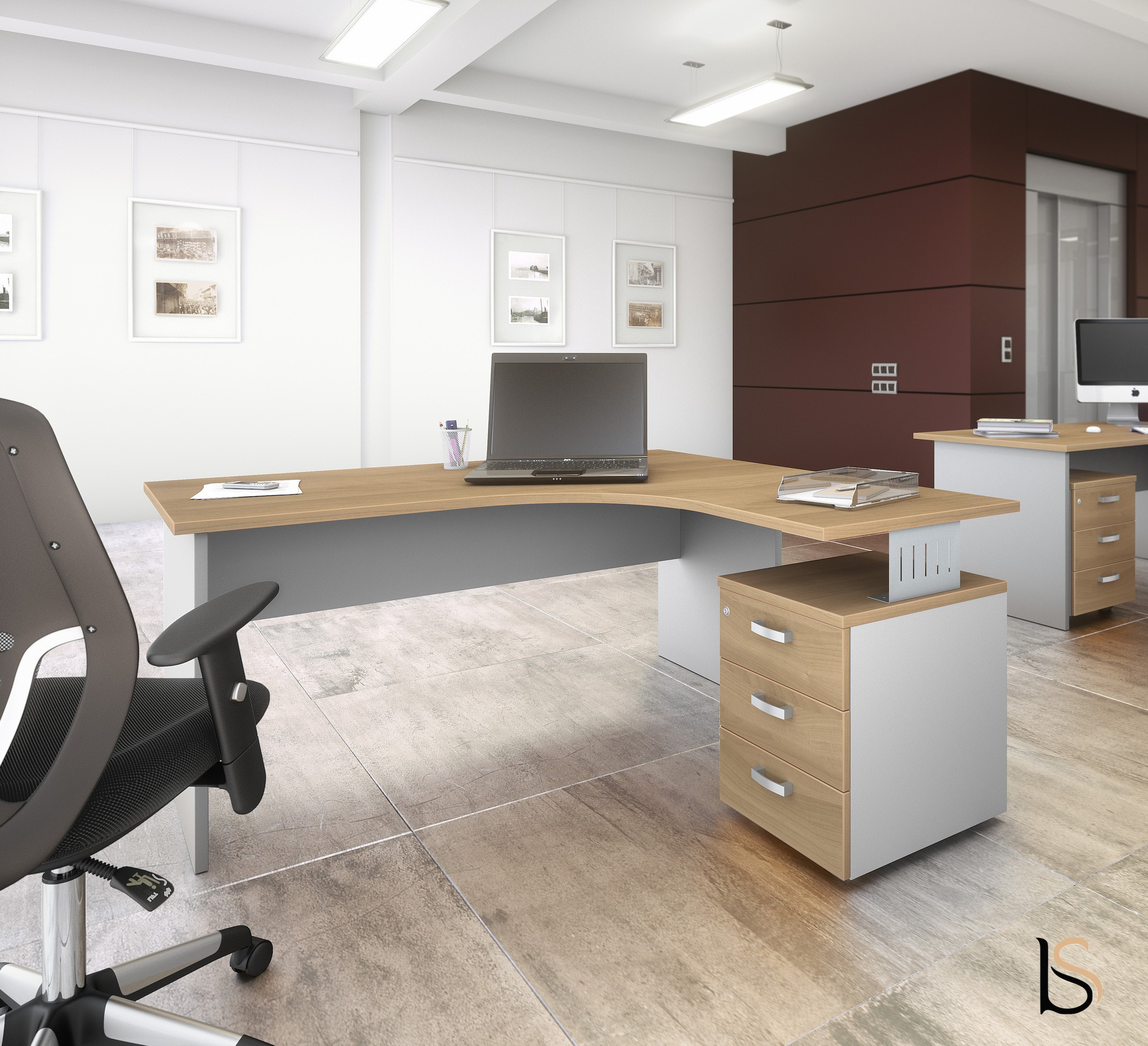 bureau compact tono avec caisson mobel linea bureaux op ratif mob. Black Bedroom Furniture Sets. Home Design Ideas