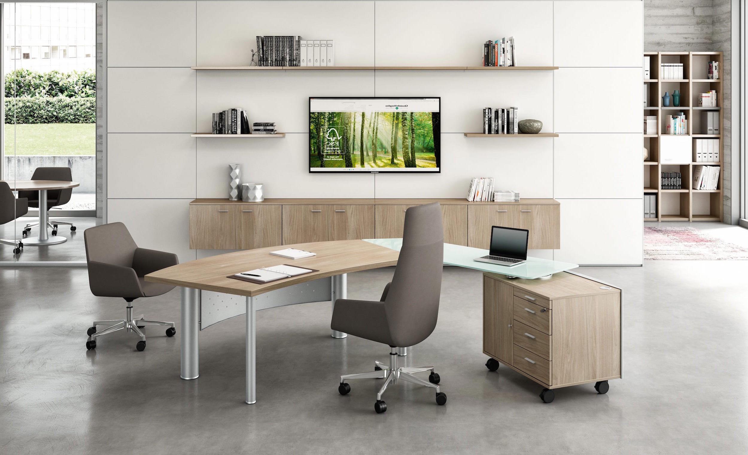 Bureau x time next avec retour en verre et meuble for Mobilier bureau quadrifoglio