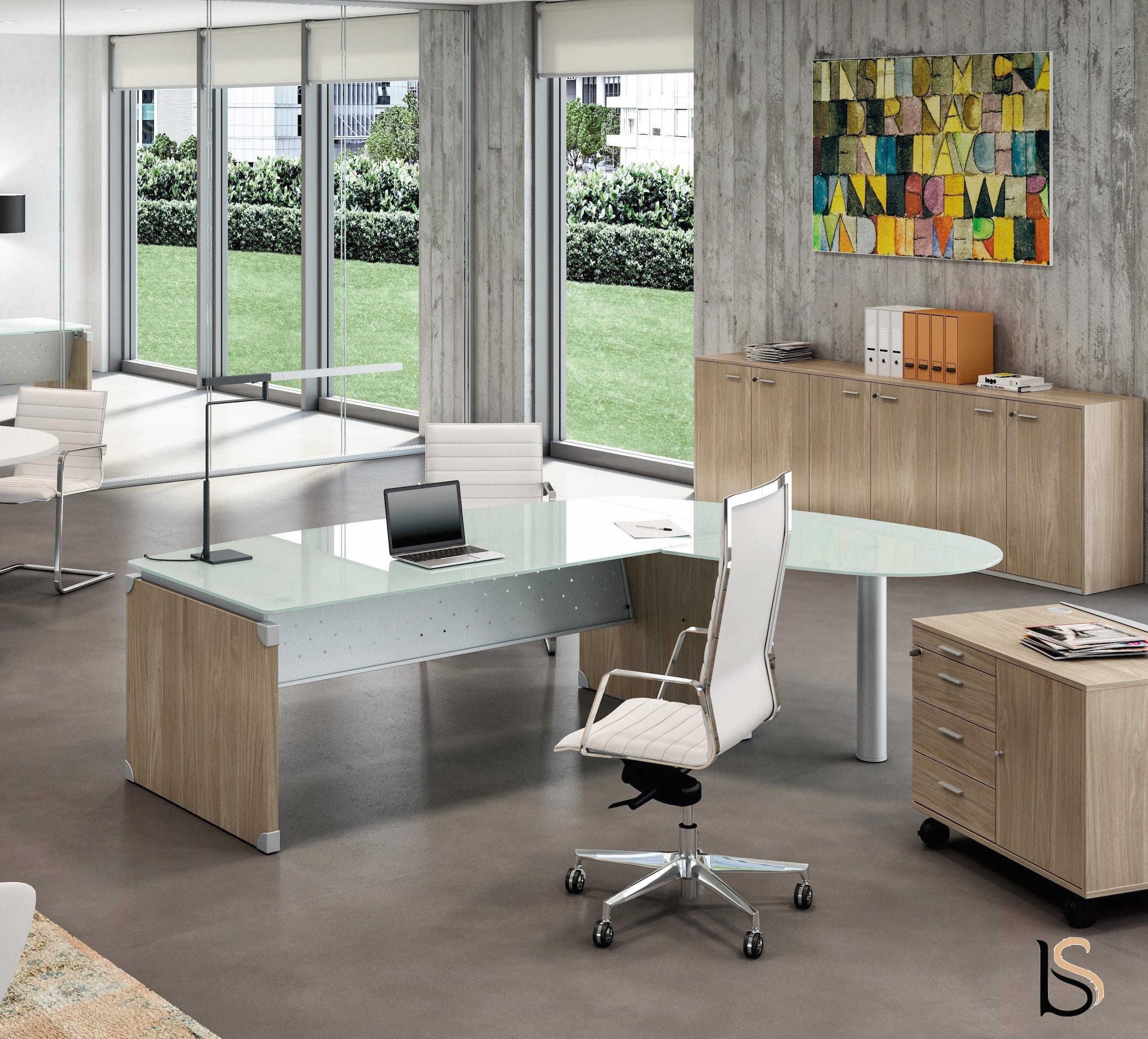 Bureau de direction en verre x time avec retour for Mobilier bureau quadrifoglio