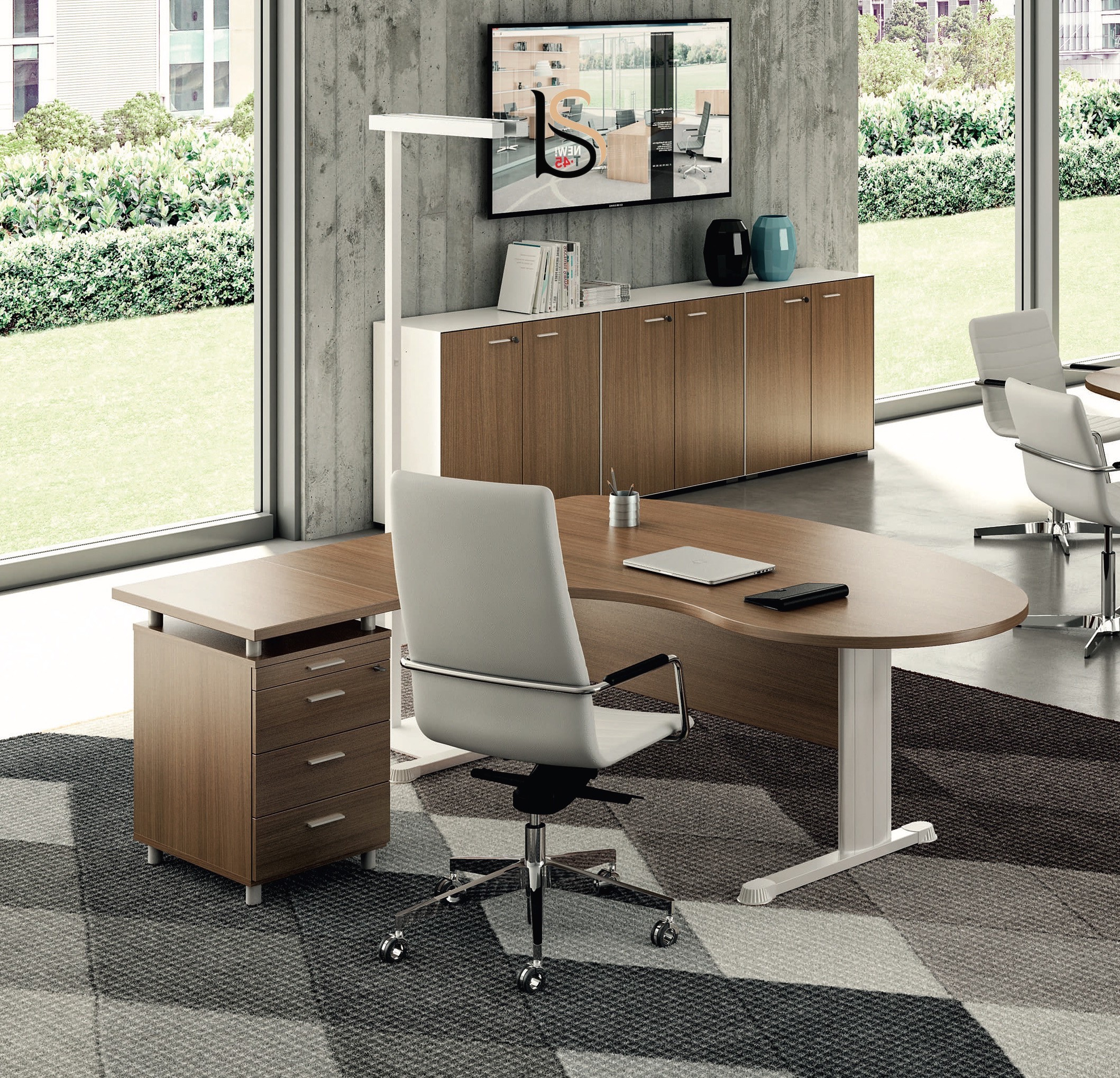 bureau ergonomique jet avec caisson quadrifoglio bureaux op rati. Black Bedroom Furniture Sets. Home Design Ideas