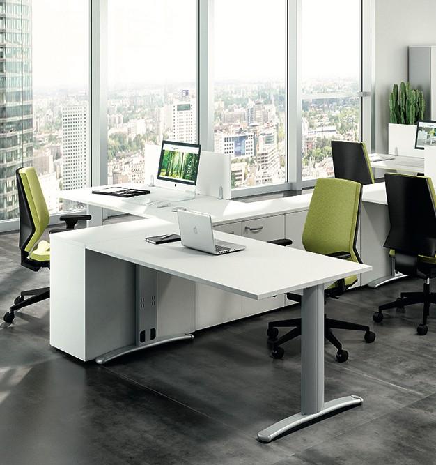 Bureau rectangulaire pieds i practika p5 quadrifoglio for Mobilier bureau quadrifoglio