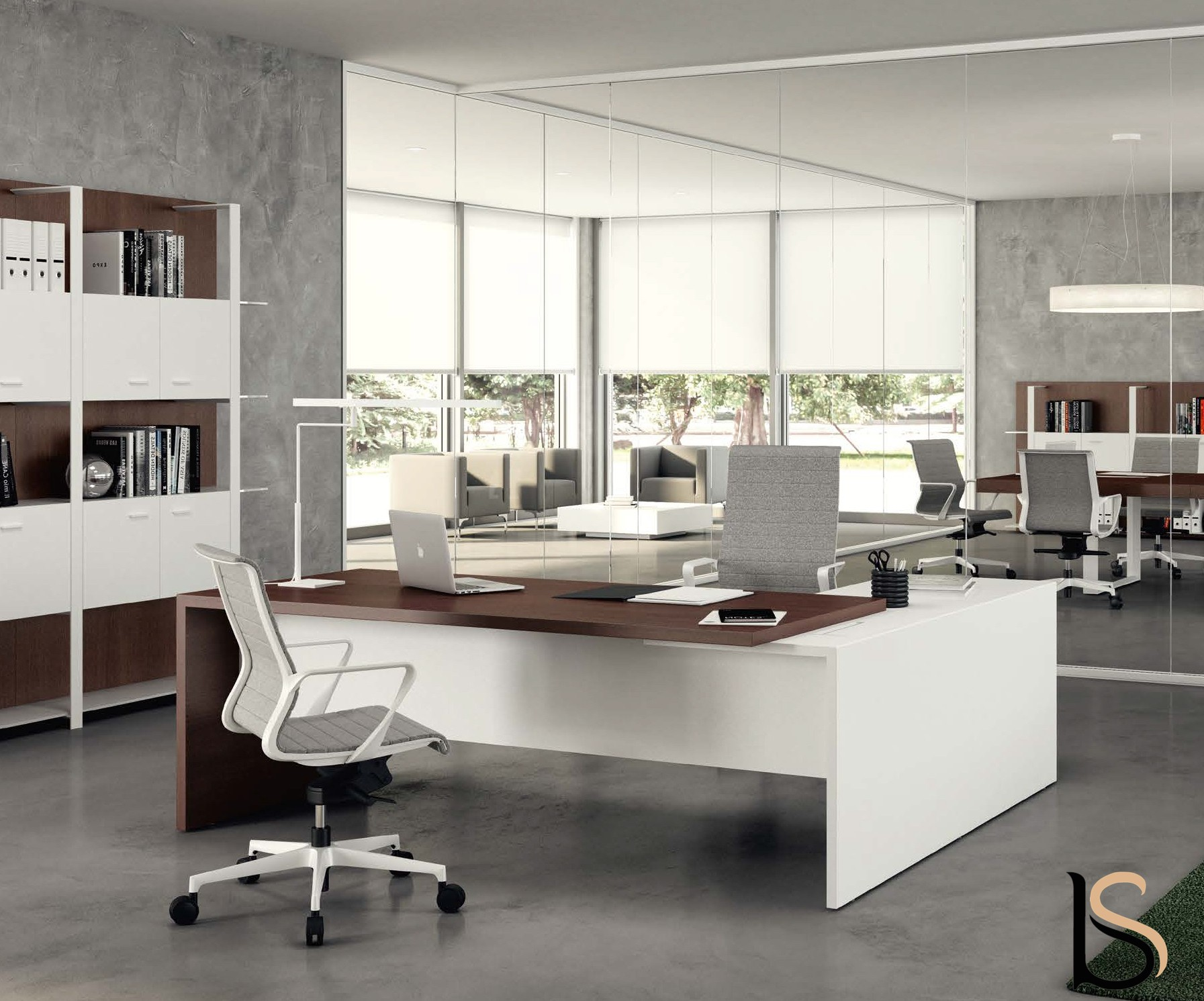 Bureau d 39 angle t45 bi colore quadrifoglio bureaux de for Mobilier bureau quadrifoglio