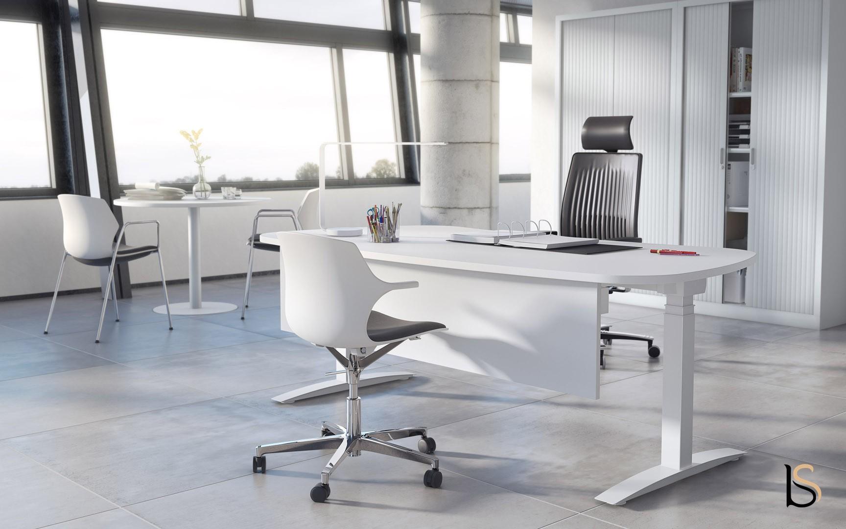 Bureau réglable en hauteur angles arrondis mobel linea bureaux ré